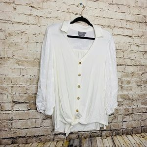 Vanessa Virginia by Anthropologie Tie Waist Blouse